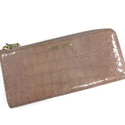 MIUMIU ミュウミュウ   L字型ファスナー長財布 クロコ型押し 長財布(小銭入れあり) クロコプリントレザー ピンクベージュ系 レディース