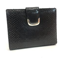 JUNKO SIMADA Junko Shimada two fold short wallet men's ladies' TOKYO PARIS two fold wallet (with coin purse) Python black unisex [pre-owned]