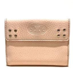 CELINE セリーヌ   Wホック財布 ロゴ 短財布 二つ折り財布(小銭入れあり) レザー ピンク レディース