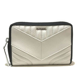 DIESEL Diesel X04083 P1031 Round zipper Multi-stitch Compact wallet Long wallet (with coin purse) Leather White x Black Women