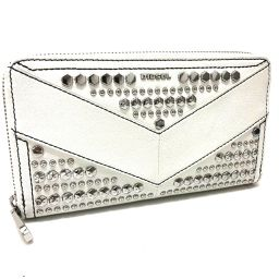 DIESEL ディーゼル   X04001 ラウンドファスナー長財布 スタッズ 長財布(小銭入れあり) レザー/ ホワイト メンズ