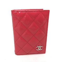 CHANEL シャネル   2つ折りカードケース 名刺入れ マトラッセ カードケース パテントレザー/ ピンク レディース
