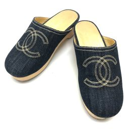 CHANEL シャネル   サボ サンダル 靴 CC ココマーク  デニム デニム/ ブルー レディース