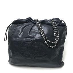 CHANEL シャネル   巾着 チェーンバッグ CC ショルダーバッグ キャビアスキン/ ブラック レディース