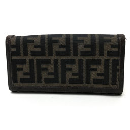 FENDI Fendi double-folded wallet Zucca Long wallet (with coin purse) Canvas × Leather / Brown Unisex
