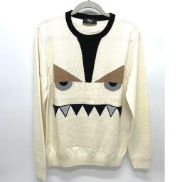 FENDI FENDI FAE525 Knit Monster Bugs Menswear Tops Sweater Wool Mens White