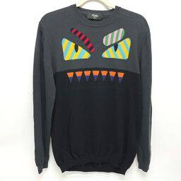 FENDI FENDI FZZ283 fashion monster knit sweater cotton men's black