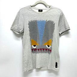FENDI FENDI FY0682 Monster Motif Tops Short Sleeve T-shirt Cotton Men's Gray
