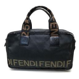 FENDI フェンディ   ロゴ  ハンドバッグ ナイロン/ ブラック レディース