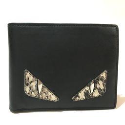 FENDI フェンディ   7M0001    メンズ レディース モンスター バッグ・バグズ 財布 二つ折り財布(小銭入れあり) レザー ブラック ユニセックス
