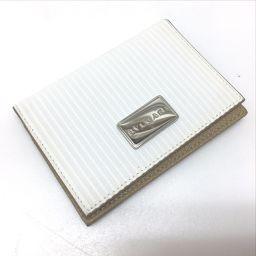 BVLGARI ブルガリ  27693  メンズ 名刺入れ パスケース ミレリゲ カードケース PVC×レザー ホワイト レディース【中古】