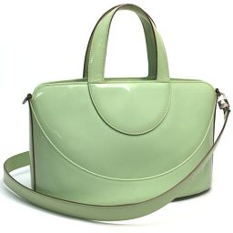 BVLGARI BVLGARI 2WAY Shoulder Bag Enamel Handbag Enamel Green Ladies