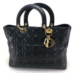 Christian Dior クリスチャンディオール   手持ちトートバッグ レディ・ディオール カナージュ ハンドバッグ ラムスキン ブラック レディース