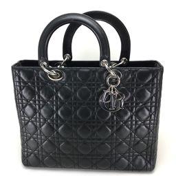 Christian Dior クリスチャンディオール   ラージハンドバッグ レディディオール ハンドバッグ ラムスキン ブラック レディース