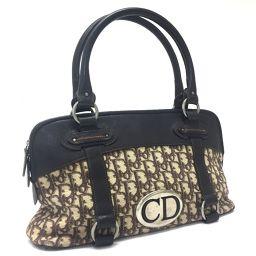 Christian Dior クリスチャンディオール   トートバッグ ミニボストンバッグ トロッター ロゴプレート  ハンドバッグ キャンバス×レザー ブラウン レディース