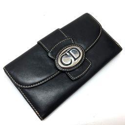 Christian Dior クリスチャンディオール   2つ折り長財布 ロゴプレート 長財布(小銭入れあり) レザー ブラック レディース