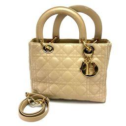 Christian Dior クリスチャンディオール   ハンドバッグ ショルダーバッグ レディ・ディオール カナージュ 2wayバッグ ラムスキン ベージュ レディース