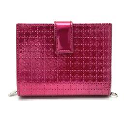 Christian Dior Christian Dior Enamel Compact Wallet Short Wallet Bi-Fold Wallet (with coin purse) Enamel Ladies Metallic Pink Metallic Pink