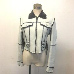 Christian Dior クリスチャンディオール   ジップアップジャケット バックスキン アウター ライダースジャケット 羊革 ライトグレー系 レディース