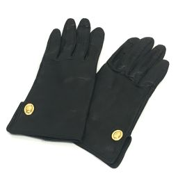 Christian Dior クリスチャンディオール  レザーグローブ ロゴ金具 手袋 グローブ レザー ブラック レディース【中古】