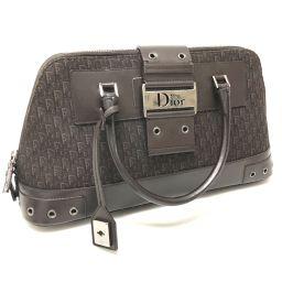 Christian Dior クリスチャンディオール   トートバッグ ミニトロッター ハンドバッグ キャンバス/レザー ダークブラウン レディース