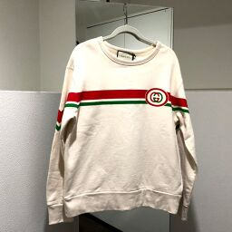 GUCCI Gucci 475532 Interlocking G Crew Neck Sweatshirt Sweatshirt Cotton Men's White Off-White