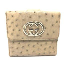 GUCCI グッチ   162759 Wホック財布 BRITT(ブリット) 二つ折り財布(小銭入れなし) オーストリッチ ベージュ レディース