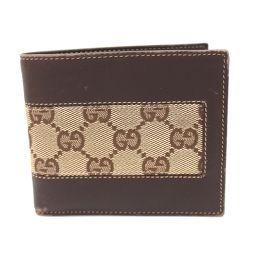 GUCCI グッチ  124547 短財布 二つ折り財布(小銭入れあり) GGキャンバス ブラウン メンズ【中古】