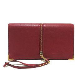Chloe クロエ   3P0076 長財布 ゴースト ファスナーストラップ 二つ折り財布(小銭入れあり) レザー レッド レディース