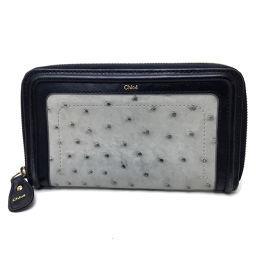 Chloe クロエ   ラウンドファスナー長財布 メンズ レディース 長財布(小銭入れあり) オーストリッチ/ グレー系 レディース