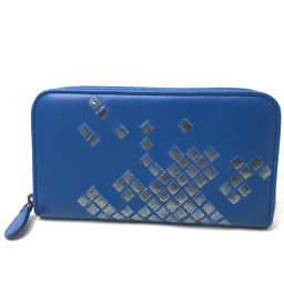 BOTTEGA VENETA ボッテガヴェネタ   ラウンドファスナー長財布 レディース メンズ 長財布(小銭入れあり) レザー/ ブルー メンズ