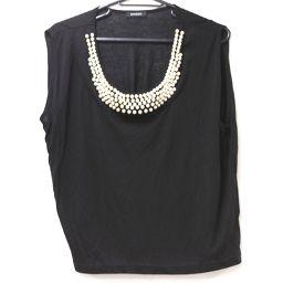 EMODA Emoda fake pearl motif top short sleeve T-shirt black ladies [pre-owned]