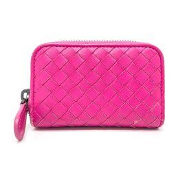 BOTTEGA VENETA 114075 Round zipper Intrecciato Coin purse Coin case Leather Unisex Pink