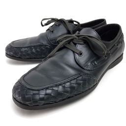 BOTTEGA VENETA ボッテガヴェネタ   デッキシューズ ボートシューズ ローファー フラットシューズ 靴 イントレチャート レザーシューズ カーフレザー ブラック メンズ