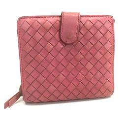 BOTTEGA VENETA ボッテガヴェネタ   114073 ラウンドファスナー財布 イントレチャート 二つ折り財布(小銭入れあり) ラムスキン ピンク レディース