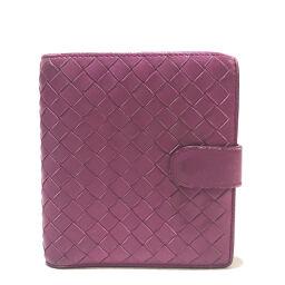 BOTTEGA VENETA ボッテガヴェネタ   114073 メンズ レディース 短財布 イントレチャート 二つ折り財布(小銭入れあり) レザー パープル ユニセックス