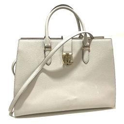 RALPH LAUREN Ralph Lauren 2WAY shoulder bag logo diagonal bag tote bag leather soft gray ladies