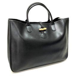 Longchamp ロンシャン   肩掛けショルダーバッグ トートバッグ レザー ブラック ユニセックス