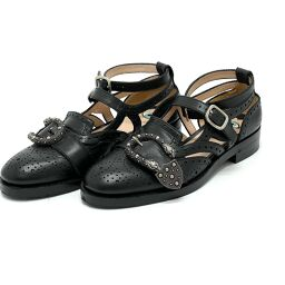 GUCCI Gucci 452860 Beans Strap Brogue Shoes Leather Shoes Leather Women's Black