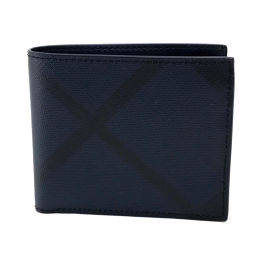 BURBERRY バーバリー   4006225 2つ折り財布 コンパクトウォレット ロンドンチェック メンズ レディース 二つ折り財布(小銭入れあり) PVC×レザー/ ネイビー ユニセックス