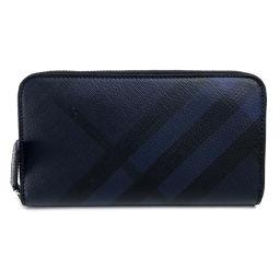 BURBERRY バーバリー   4006222 ラウンドファスナー長財布  ロンドンチェック メンズ レディース 長財布(小銭入れあり) PVC×レザー/ ネイビー ユニセックス