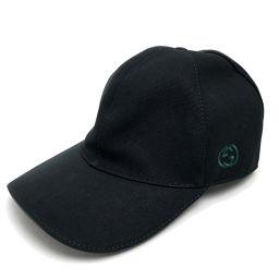 GUCCI グッチ   メンズ レディース ベースボールキャップ GG ロゴ シェリーライン 帽子 キャンバス/ ブラック ユニセックス