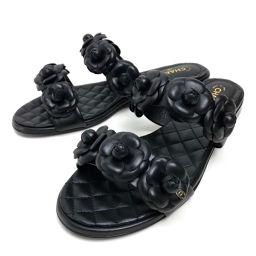 CHANEL シャネル   靴 シューズ フラット カメリア サンダル レザー/ ブラック レディース