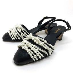 CHANEL シャネル   靴 シューズ バックストラップ ミュール 9連パール サンダル レザー/ ブラック レディース