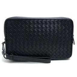 BOTTEGA VENETA ボッテガヴェネタ   クラッチバッグ ポーチ イントレチャート 持ち手有り セカンドバッグ レザー/ ブラック メンズ