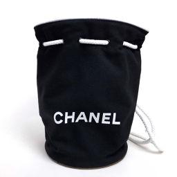 CHANEL シャネル   バックパック リュックサック ワンショルダー ロゴ 巾着 リュック・デイパック キャンバス/レザー ブラック レディース