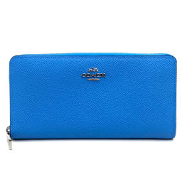 COACH Coach 52372 Round zipper wallet Logo Long wallet (with coin purse) Leather / Light Blue Ladies