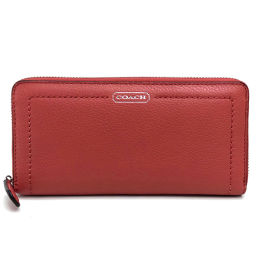 COACH Coach Round zipper wallet Logo Long wallet (with coin purse) Leather / Salmon Pink Ladies