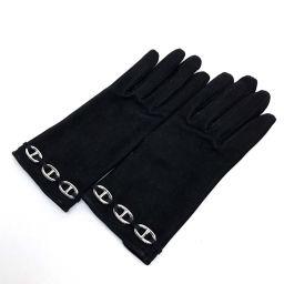 HERMES エルメス   シェーヌダンクル 手袋 グローブ スエード/ ブラック レディース