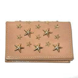 JIMMY CHOO 005977 Business Card Holder Pass Case Folded Star Studs Card Case Patent Leather Beige Ladies